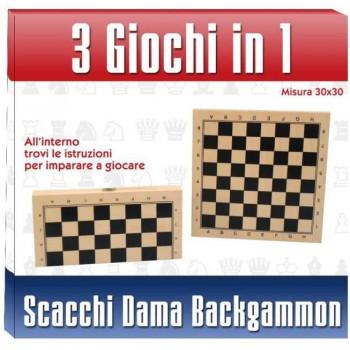 Scacchiera legno 3 in1